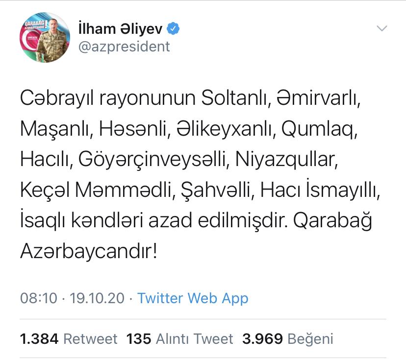 """SON DƏQİQƏ - İlham Əliyev: """"Daha 13 kənd işğaldan azad edildi"""""""