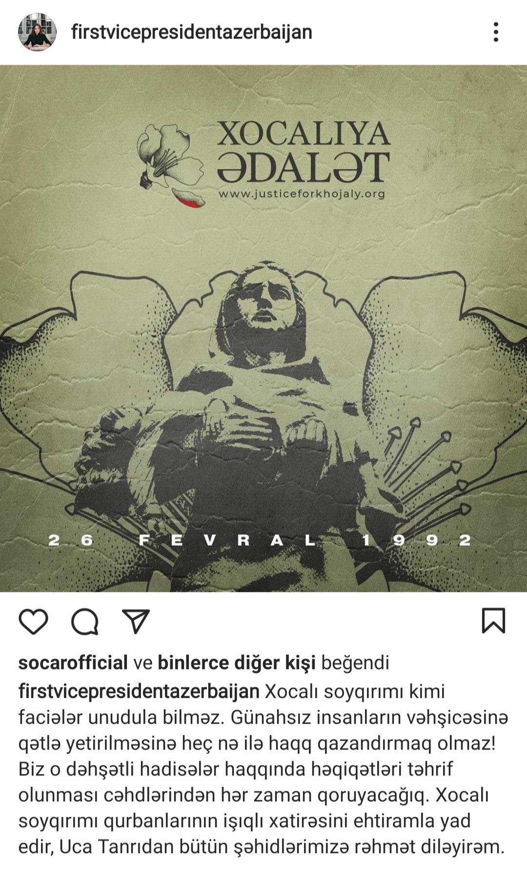 """Mehriban Əliyeva: """"Xocalı soyqırımı kimi faciələr unudula bilməz"""" - FOTO"""