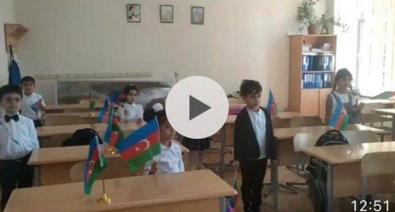 Məktəblilərdən Milli Ordumuza dəstək aksiyası - VİDEO