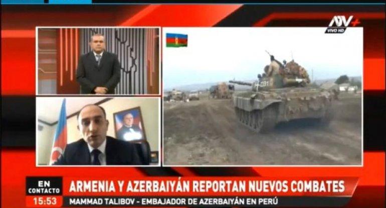 Azərbaycanlı səfir Perunun nüfuzlu telekanalında erməni terrorundan danışıb