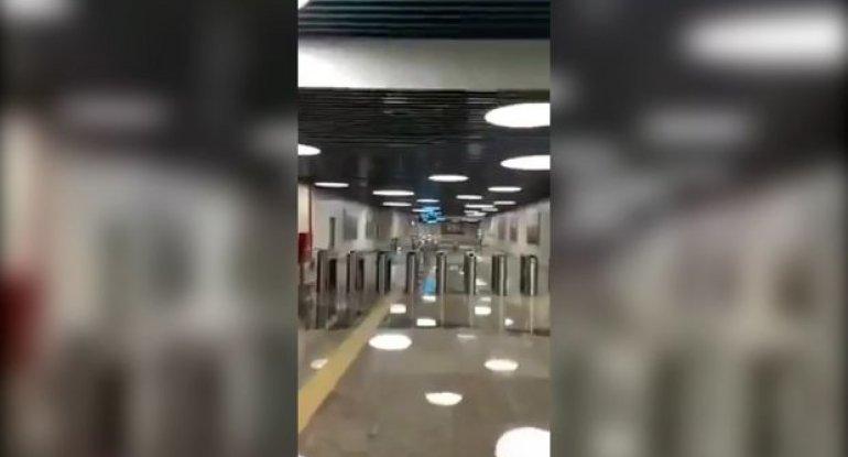 """8 Noyabr"" metrostansiyasının yeni görüntüləri yayıldı - VİDEO"