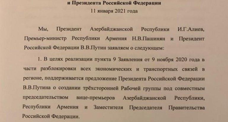 Azərbaycan, Rusiya və Ermənistanın başçılarının imzaladığı birgə bəyanatın  ...
