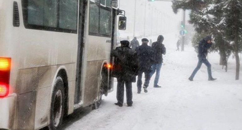 Qar paytaxt sakinlərini yolda qoydu: Avtobus yoxdur... - BNA HARADADIR?