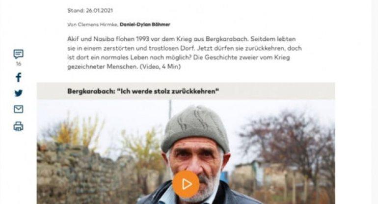 Alman portalında ermənilər tərəfindən dağıdılmış kəndlər haqqında videoreportaj yayımlanıb