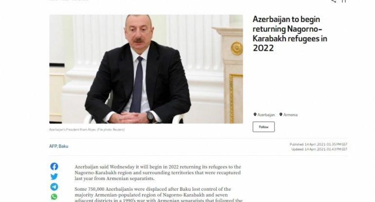 """""""Alarabia"""" telekanalı: Azərbaycan 2022-ci ildə köçkünlərin Qarabağa qaytarılmasına başlayacaq"""