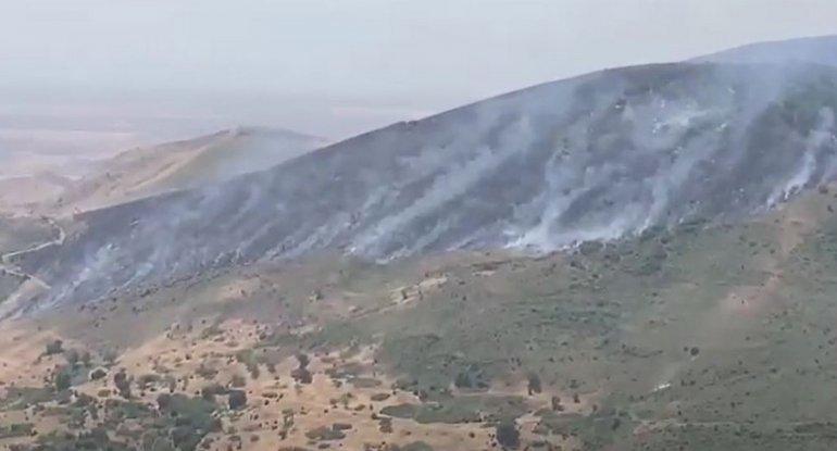 Füzulidə yanğın - Havaya helikopter qaldırıldı (VİDEO)