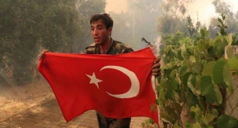 Azərbaycanlı yanğınsöndürənlərin bayraq sevgisi Türkiyə mediasında – VİDEO/FOTO