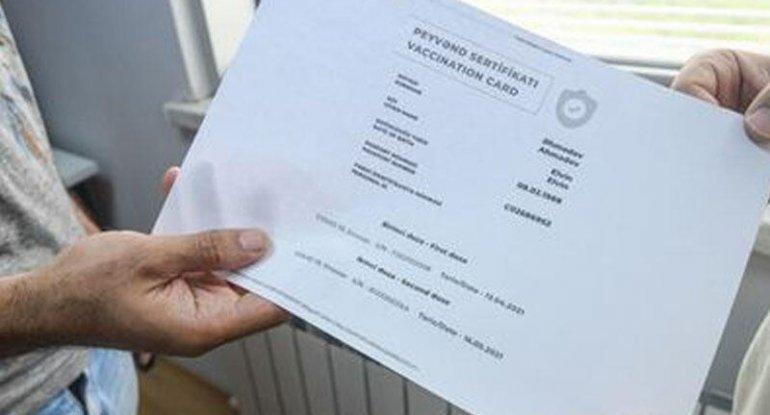 Bu gündən vaksin vurdura bilməyənlərə sertifikat verilir
