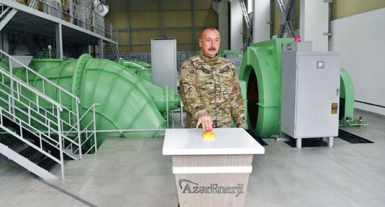 """İlham Əliyev """"Suqovuşan-1"""" və """"Suqovuşan-2"""" SES-in açılışında - FOTO"""