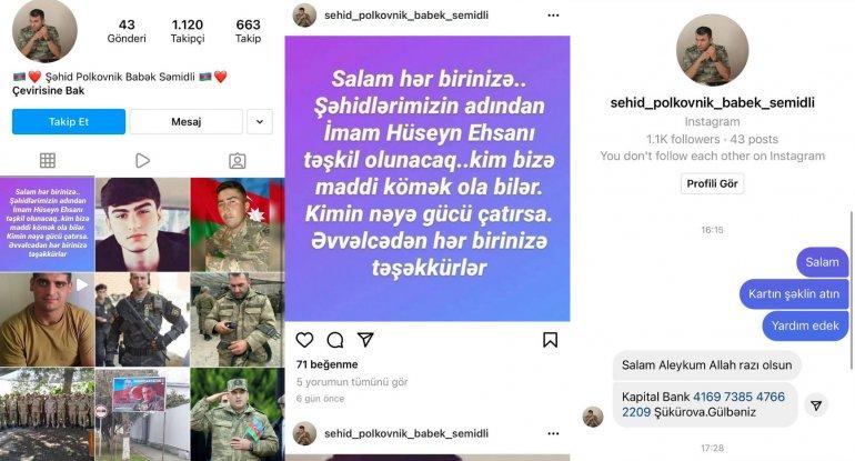 Şəhid polkovnikin adından səhifə açıb pul yığırlar - FOTO